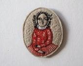 red angel - embroidery portrait brooch - folk art