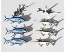 Deep Sea Brads & Eyelets (12 Brads) Tuna Eyelet • Swordfish Fastener • Paper Crafting