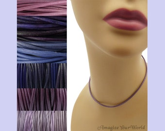 Custom Purple LEATHER Cord Necklace up to 24 inches long - choose shade, diameter, length, clasp color - 1.5 mm,  2 mm or 3 mm