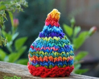 NEWBORN Photography Prop - Baby Knit Hat - Pixie Elf Gnome - Rainbow - Handdyed and Handspun yarn