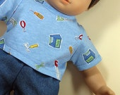 Bitty or Bitty Twin Boy Doll Clothes - Blue Jeans Shorts and Tools Tee