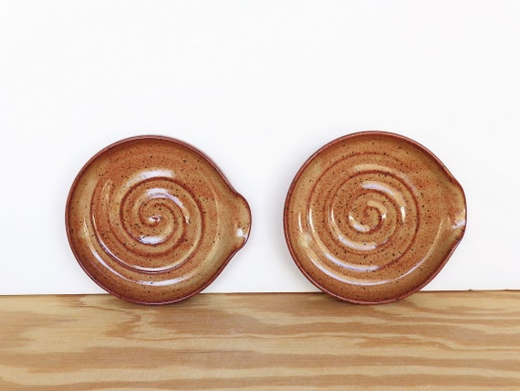 Reserved for Maureen - Spoon Rests - Stoneware Clay in Shino Glaze