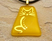 Purrrfect - Yellow fused glass kitty cat pendant painted in 22k gold
