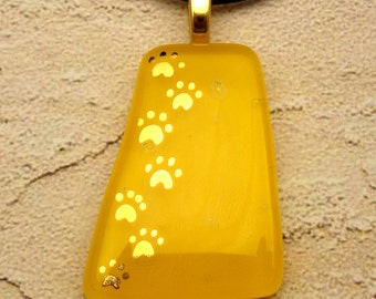 My Pet Walks All Over Me - Yellow fused glass pendant hand painted in 22k gold
