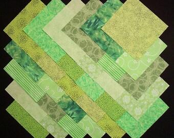 BRIGHT GREEN 100% cotton Prewashed 5 inch Quilt Block Fabric Squares (B/44C)
