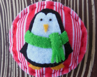 Felt Penguin Christmas Ornament - Cozy Winter Penguin No. 4 - SALE