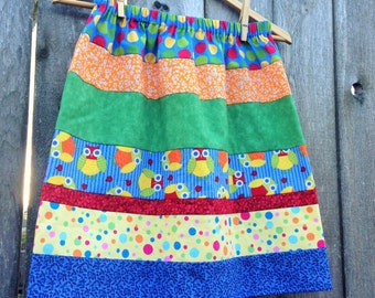 Womens Skirt - Strip Quilt Inspired Stripe Pieced Skirt (((owls))) One size fits many