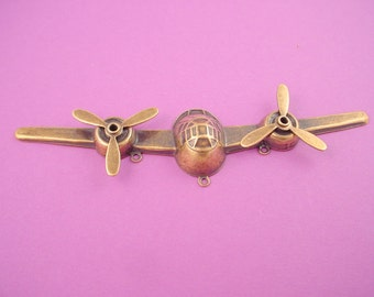 1 Antique gold brass ox retro Airplane front  propellers 3 loops
