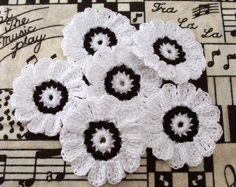 Crochet Black and White Flowers| Set of 6