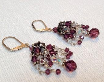 Purple Swarovski Crystal Chandelier Earrings