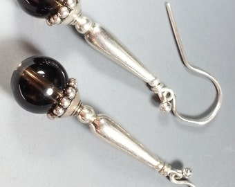Lovely Smokey Quartz and Sterling Silver Earrings