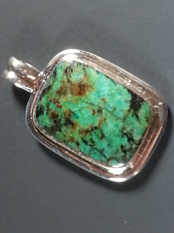 African Turquoise Pendant in Hand Fabricated Sterling Silver Setting