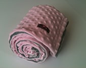 Minky Blanket- Gray and Pastel Pink  35 x 30