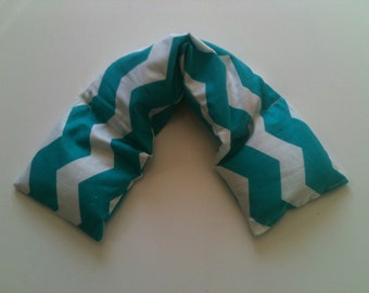 Heat Pack or Cold Therapy Wrap/ Neck Shoulder/ Flax Seed,Mint, Lavender - Aqua Chevron