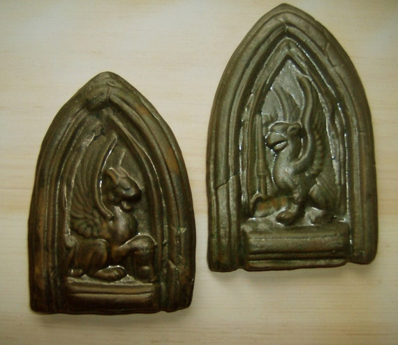 2 Medieval Handcarved Art Tiles - Cathedral Niche Gryphon & Lion