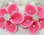 New! 4pcs handmade felt flowers--dark carnation/baby pink(FT454)