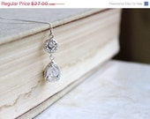 42% Off Bridal Necklace Pear CZ Teardrop Silver Pendant Halo CNN2