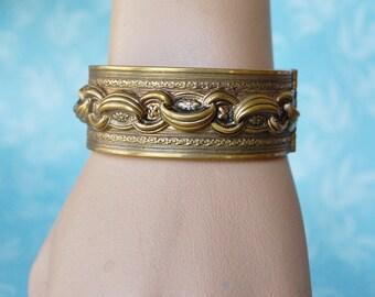 Vintage 1930s Victorian Revival Cuff Bracelet Unusual Hinged Chain Motif