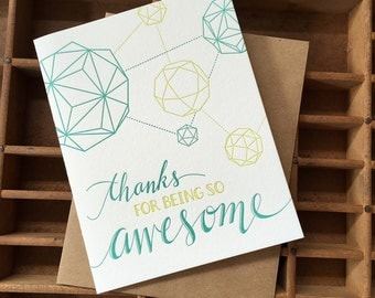 letterpress thank you awesome polyhedron card