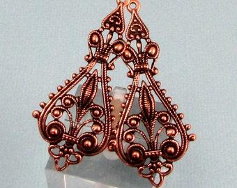 Filigree Drop, Pendant, Antique Copper, 2 Pc. AC178-2