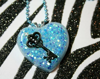 Blue Heart Necklace, Glitter Resin, Key to My Heart, Fairy Kei, Pastel Sparkle Jewelry