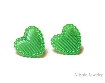 Green Heart Earrings, Kawaii Heart Studs, Gifts under 10