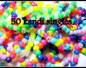 Kandi Singles, 50 Kandy Bracelet Lot, Neon Rainbow Rave Plur Jewelry, 50 Beaded Bracelets
