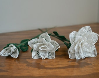 3 french beaded flowers handmade roses different sizes in white color