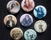 """Oscar Wilde 1.25"""" Magnets or Pinback Buttons - Images from Oscar's 1882 American Tour - Set of 8"""