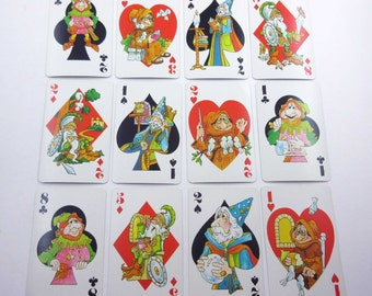 Vintage Hearts Children's Playing Cards with Cute Characters Wizards Jesters Knights Friars Birds Animals Set of 12