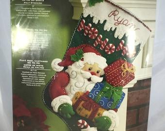 Bucilla Felt Christmas Stocking Kit - Ho Ho Ho Santa - New Unopened Package