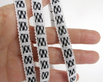 Picot edge OLD FASHIONED retro black and white cotton GINGHAM braid trim. 3 yards 1/2 inch wide. BR65-A