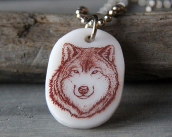 Wolf - fused glass pendant