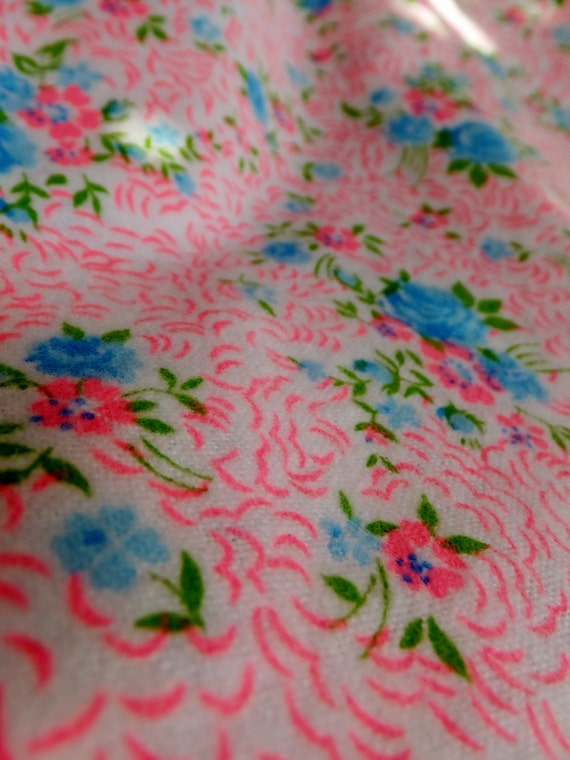 Vintage style floral flannel cotton calico vintage nursery for Floral nursery fabric