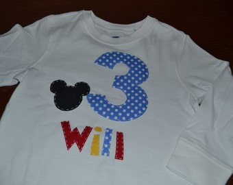 Personalized Multi Color Mickey Birthday Applique Shirt Long or Short Sleeve
