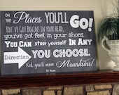 Large 24x36 Dr. Seuss Oh the Places You'll Go Chalkboard Style Sign