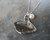 Real Leaf Necklace Pendant Jewelry - Ginkgo  - Sterling Silver - Freshwater Pearl