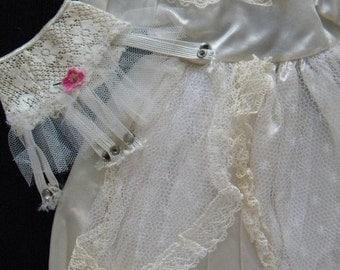 Vintage Large Doll Wedding Dress, Garter Belt and Wedding Ring