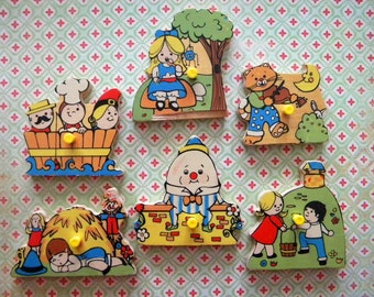 6 Vintage Wooden Puzzle Pieces from Tray Puzzle Nursery Rhymes