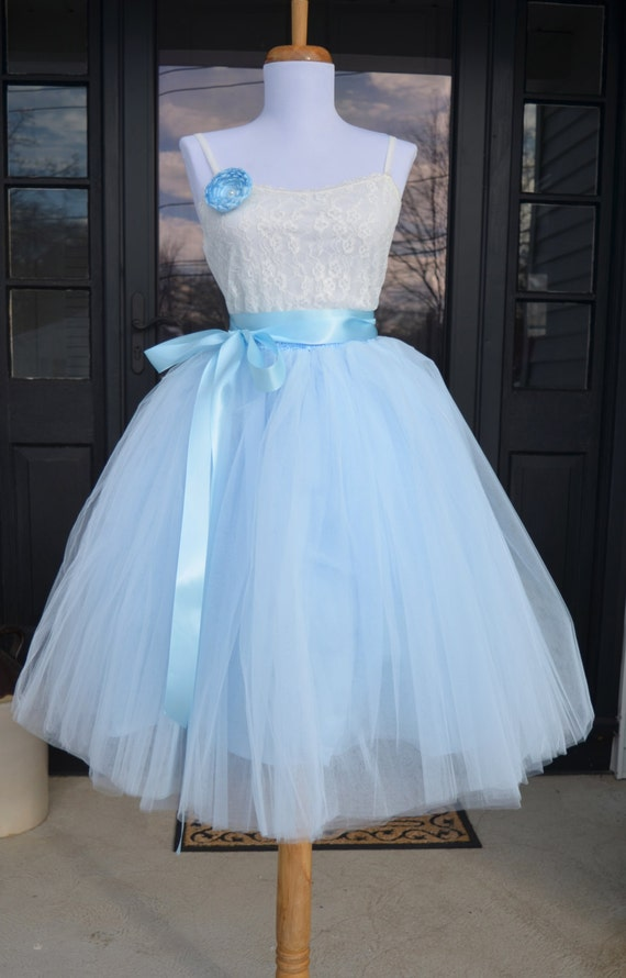 womens tutu soft baby blue tulle skirt light blue tutu