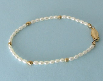 Tiny Freshwater Pearls and Gold Bracelet