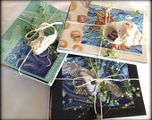 Assorted Pack of 8 beautiful notecards Natural Seashell Mosaic Stained Glass Images