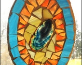 Stained Glass Mosaic Window Suncatcher Blue Agate Orange Yellow