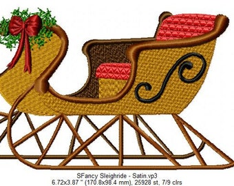 SFancy Machine Embroidery File - Sleigh - 7 x 5