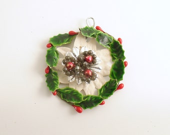 Vintage Christmas Ornament Miniature Wreath Dollhouse Wreath Holly Glass Beads
