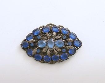 Vintage Brooch Blue Rhinestone Pin Costume Jewelry