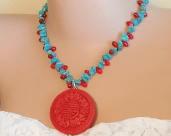 """Turquoise nuggets, Cinnabar Pendant Necklace .Chinese Longevity Symbol carving on Cinnabar. 40 mm , glass tear drops, 17 """". Handmade Gifts"""