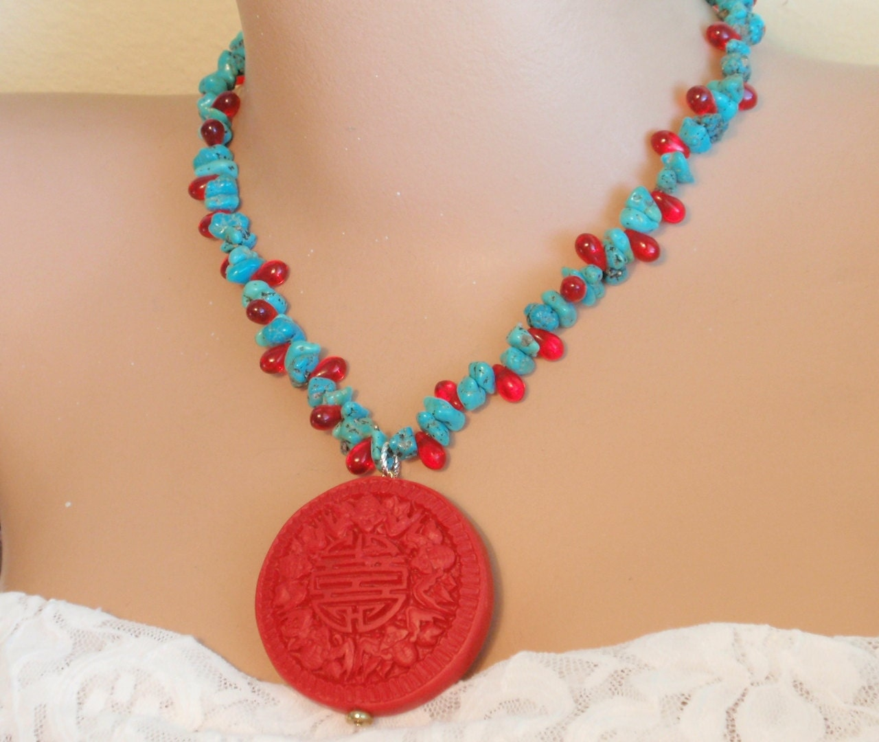 cinnabar pendant turquoise nuggets necklace