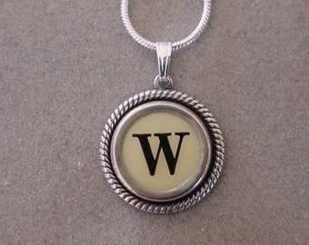 Typewriter key jewelry necklace CREAM  LETTER W  Typewriter Key Necklace Initial Necklace
