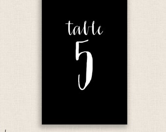 DIY Printable Table Numbers  - 4x6 Digital Design - Numbers 1-20 in Modern Calligraphy - Instant Download
